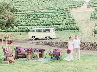 bride-groom-chic-lounge-space-vintage-california-boho-chic-wedding-styled-shoot-furniture-vineyard