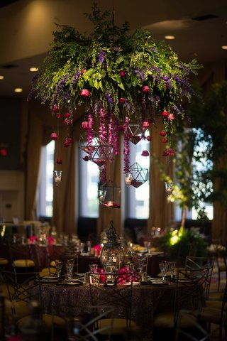 cascading-flowers-floral-chandelier-purple-and-red-flowers-garden-theme-whimsical-reception