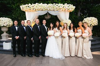 bride-and-groom-at-outdoor-ceremony-with-bridesmaids-and-groomsmen