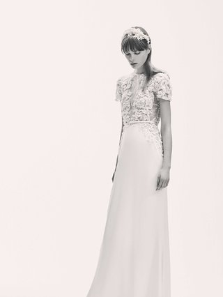 black-and-white-photo-of-elie-saab-bridal-spring-2017-crepe-wedding-dress-with-short-sleeve-top