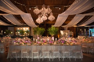 group-of-chandeliers-in-middle-of-ceiling-above-wedding-reception