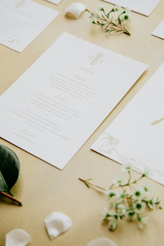 wedding-stationery-suite-paper-goods-white-gold-details-menu-card-with-selections-and-pineapple