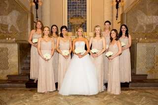 bridesmaids-in-metallic-adrianne-papelle-bride-in-monique-lhuillier-ball-gown