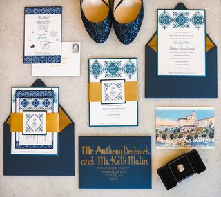 blue-gold-white-invitation-suite-southern-california-wedding-spanish-flair-custom-calligraphy