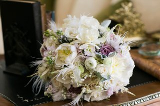 purple-green-and-ivory-wedding-bouquet-with-feathers