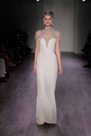 hayley-paige-2016-column-wedding-dress-with-plunging-neckline-and-beaded-neck-and-cap-sleeves