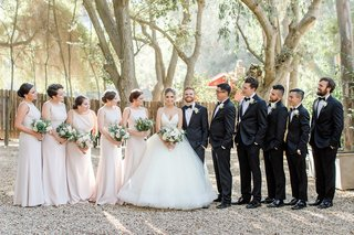 bride-in-lazaro-ball-gown-bridesmaids-in-pale-pink-dessy-group-dresses-bridal-party-gaze