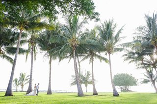 bride-and-groom-on-grass-lawn-with-palm-trees-at-destination-wedding