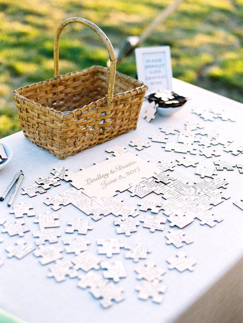 wedding guest book alternative personalized wood puzzle pieces