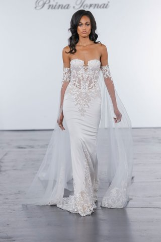 pnina-tornai-for-kleinfeld-2018-wedding-dress-fitted-crepe-gown-guipure-lace-strapless-sheer-bodice
