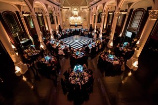 wedding-reception-vibiana-wedding-venue-black-and-white-dance-floor-geometric-round-and-rectangular