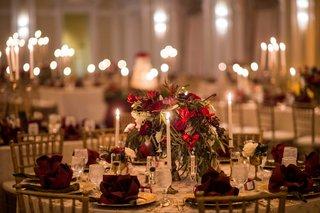 red-green-white-low-centerpiece-renaissance-theme-wedding-art-still-life-reception-decor