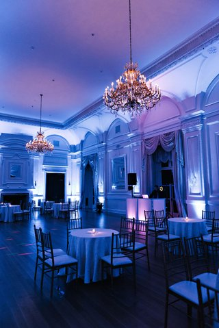 ballroom-at-oheka-castle-with-chandeliers-and-bright-blue-violet-lighting-dj-booth-wedding-ideas