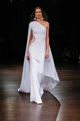 naeem-khan-bridal-fall-2017-melrose-one-shoulder-sheath-wedding-dress-with-cape-sheer-side-cut-out