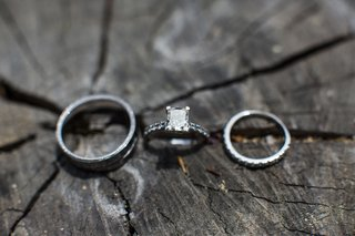 silver-wedding-band-engagement-ring-and-diamond-wedding-band