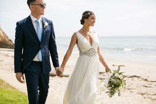 bride-in-jenny-packham-sheath-v-neck-wedding-dress-groom-in-sunglasses-blue-suit-and-tie