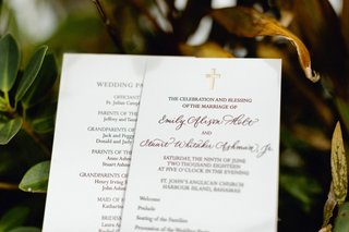 wedding-ceremony-program-christian-chapel-church-wedding-gold-letterpress-cross-at-top