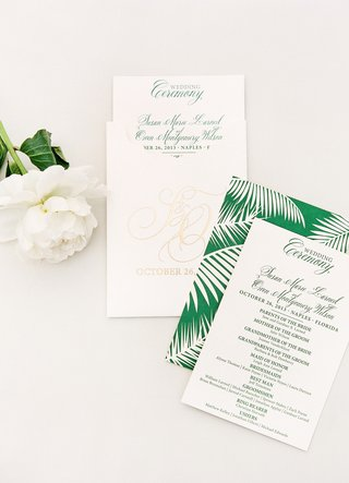 white-gold-green-wedding-ceremony-program-with-palm-frond-print-for-destination-wedding