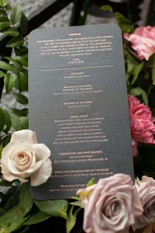 grey-round-corner-ceremony-program-with-officiant-bridal-party-flower-girl-ring-bearer-surprise-note