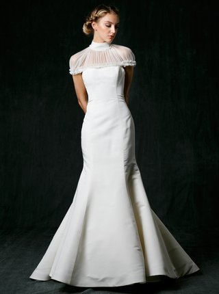 sareh-nouri-fall-2017-wedding-dress-nicole-trumpet-gown-silk-faille-rouched-high-neck-collar-short