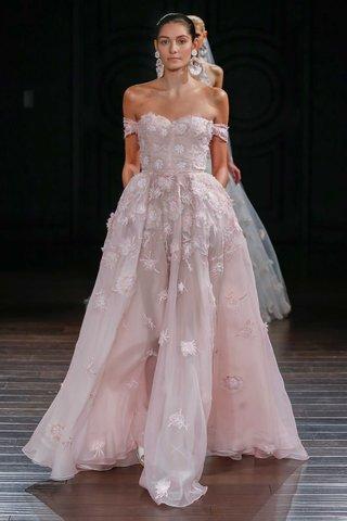 naeem-khan-bridal-spring-2017-monterey-pink-wedding-dress-flower-details-off-the-shoulder-straps