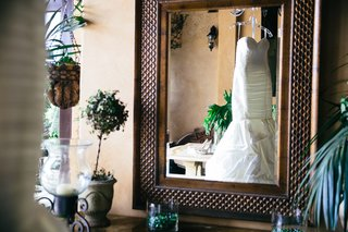 view-of-mermaid-gown-through-mirror