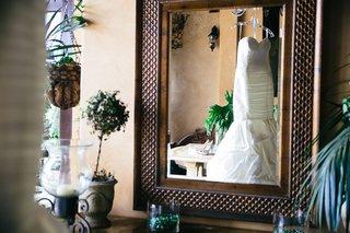 view-of-mermaid-gown-through-mirror