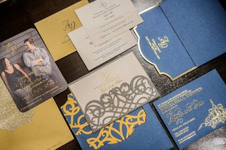 wedding-invitation-suite-with-vintage-inspired-design-save-the-date-engagement-photo