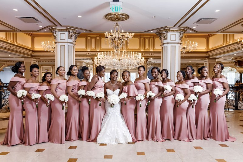 Bridesmaids in Off-Shoulder Pink Gowns
