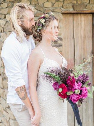 boho-couple-vibrant-florals-california-chic-wedding-styled-shoot-flower-crown-tattoo-beard