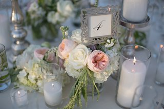 wedding-reception-table-with-table-number-in-a-silver-vine-frame-atop-white-roses-hydrangeas