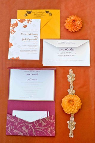 wedding-invitation-suite-in-bright-yellow-and-magenta