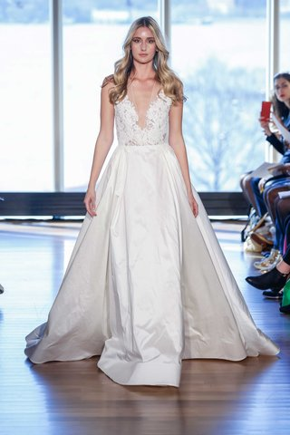 rivini-stevie-wedding-dress-a-line-ball-gown-with-lace-deep-v-bodice-and-pleated-skirt