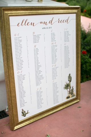 desert-themed-gold-and-white-seating-chart-with-calligraphy-with-green-cactus-cacti