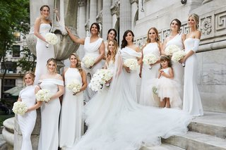 bride-in-galia-lahav-wedding-dress-and-veil-orchid-bouquet-bridesmaids-mismatched-white-katie-may