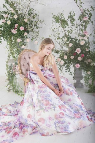 charlotte-balbier-strapless-flower-print-wedding-dress-bloom-purple-pink-train-draped-bodice
