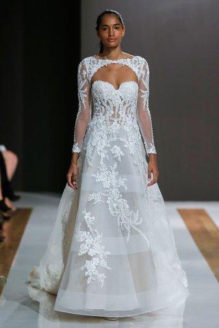 mark-zunino-spring-2018-wedding-dress-strapless-a-line-bridal-gown-horsehair-stripe-skirt-flowers