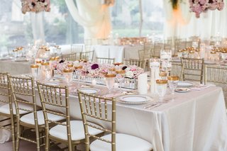 wedding-reception-rectangle-table-linen-gold-chair-gold-glassware-low-centerpiece-long-mirror-detail