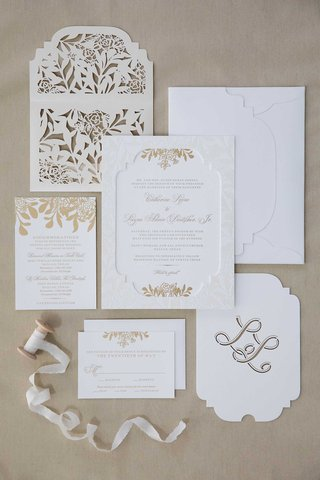 wedding-invitation-suite-white-gold-monogram-die-cut-laser-cut-envelope-ribbon