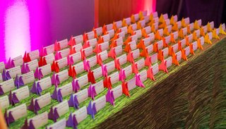 wedding-reception-ombre-purple-pink-orange-yellow-paper-crane-origami