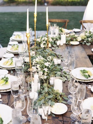 farm-tables-garland-runner-of-eucalyptus-golden-candlestick