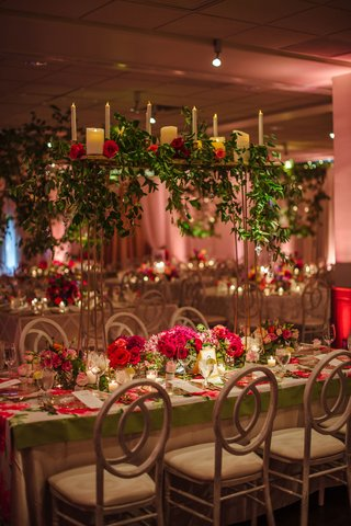 wedding-reception-flower-print-table-cloth-with-greenery-candle-display-on-thin-stand-over-table