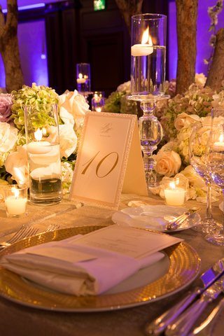 wedding-reception-table-number-with-monogram-glittery-gold-border-candles-green-hydrangeas-white