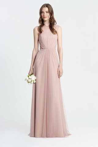 monique-lhuillier-bridesmaids-spring-2017-sleeveless-tulle-bridesmaid-dress-long-high-sheer-illusion