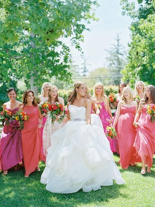 bride-in-vera-wang-wedding-dress-with-bridesmaids-in-pink-and-orange-mismatched-dresses