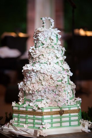 tall-detailed-floral-cake-enchanted-unique-sugar-flowers-basket-weave-fence-monogram
