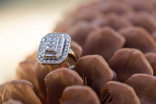 vintage-cluster-engagement-ring-round-baguette-diamonds-princess-cut-on-pinecone