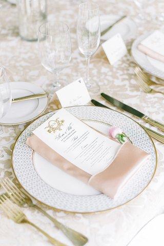 gold-dinnerware-charger-blush-napkins-menu-south-carolina-feminine-wedding-color-palette-royal-posh