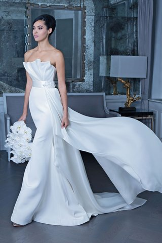 romona-keveza-fall-2019-bridal-collection-wedding-dress-rk9507-strapless-gown-draped-bodice
