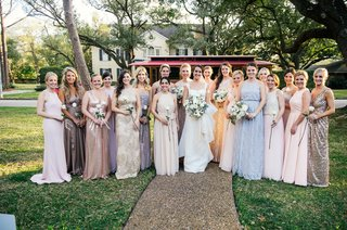 bridesmaids-and-honor-attendants-in-mismatched-wedding-dresses-blush-blue-silver-peach-lavender